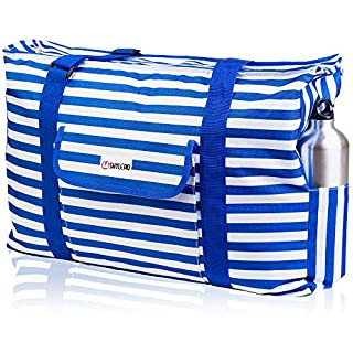 Beach and Pool Bag XL - Waterproof (IP64) - L22 xH15 xW6 - Thermal Pocket - Four Outside Pockets - Top Zip - Gadget Case - Key Holder - Bottle Opener