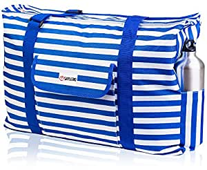 Beach Bag XXL. 100% Waterproof (IP64). L22 xH15 xW6 / 56x38x15cm w Ribbon Handles (Padded Grip), Top Zip, Three Outside Pockets. Beach Tote Includes Phone Case, Built-In Key Holder, Bottle Opener