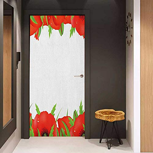 Toilet Door Sticker Poppy Perennial Gardening Bedding Plants Border with Booming Vibrant Petals Glass Film for Home Office W35.4 x H78.7 Vermilion Green White