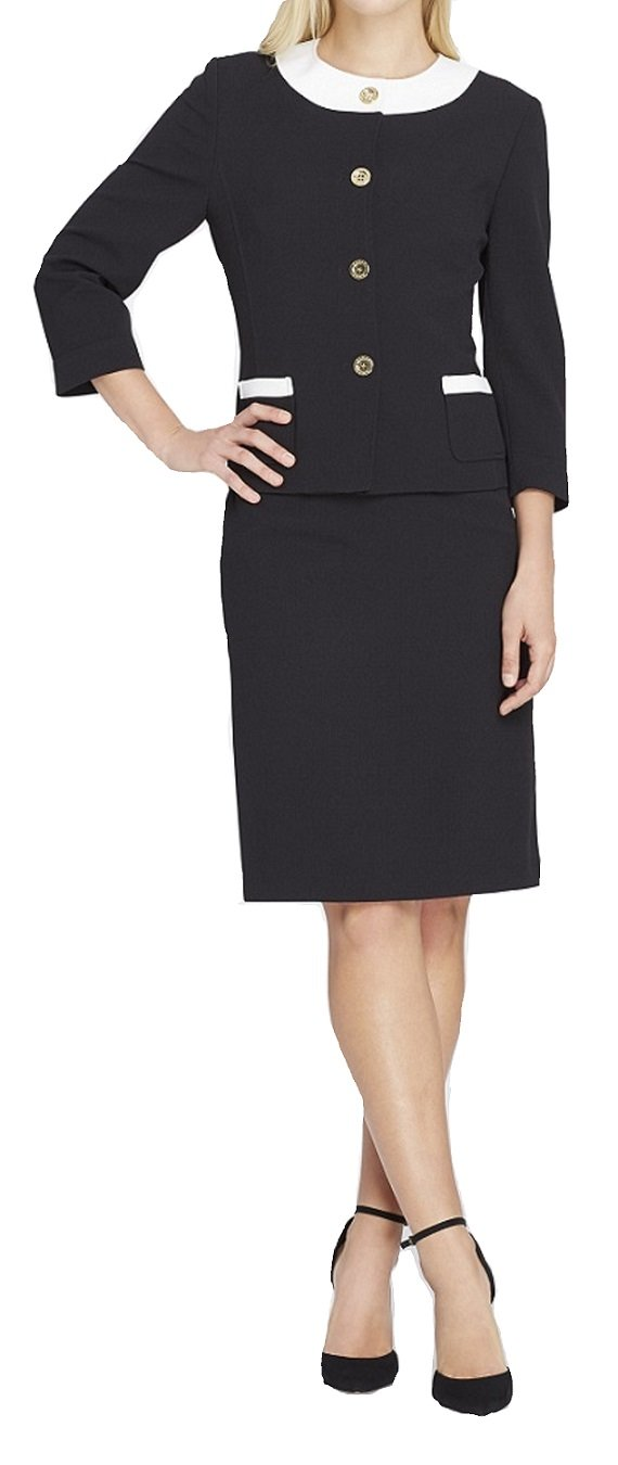 Tahari by Arthur S. Levine Women's Crepe Long Sleeve Skirt Suit with Gold Finish Button Detail, Black/White, 14