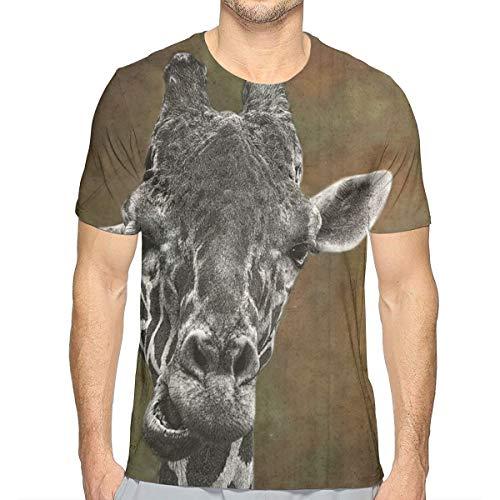 Lee T-shirt Hat - KIM LEES Giraffe Men's Round Collar for Teenagers Running White