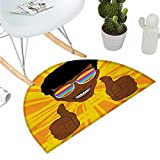 "Afro Semicircle Doormat Happy Hippie Man with Colorful Sunglasses Lifting His Thumbs Retro Positive Vibes Entry Door Mat H 47.2"" xD 70.8"" Multicolor"