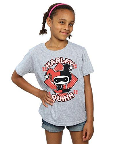 DC Comics Girls Chibi Harley Quinn Badge T-Shirt 7-8 Years Sport Grey]()