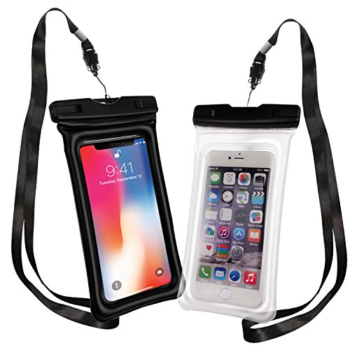(PEADOO Floatable Waterproof Case Pouch,[Universal] [2 Pack] - Perfect for Boating/Kayaking/ Rafting/Swimming/ Snorkeling, Dry Bag Protects your cell phone and valuables - IPX8 Certified)