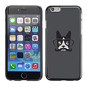 Qstar Arte & diseño plástico duro Fundas Cover Cubre Hard Case Cover para Apple (5.5 inches !!!) iPhone 6 Plus ( Hipster French Bulldog Art Moustache Glasses)
