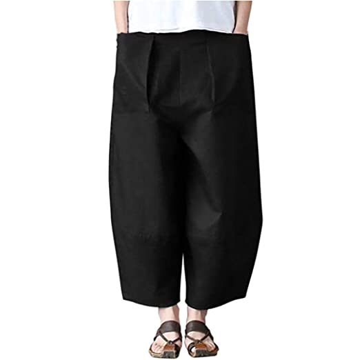 Sunhusing Ladies Casual Cotton Linen Solid Color Large Pocket Loose Pants Trousers