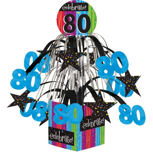 Creative Converting Party Decoration Metallic Foil Cascading Centerpiece, Milestone Celebrations 80th - 260883