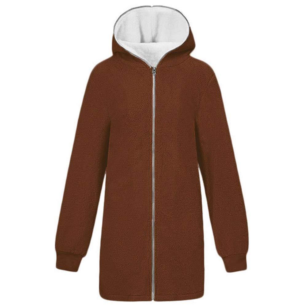 Manka Vesa Womens Zip up Hooded Fluffy Coat Cardigans Outwear Jackets with Pocket S-5XL