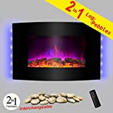 AKDY 36' Wall Mount  2-in-1 Log and Pebble Style Indoor Electric Fireplace...