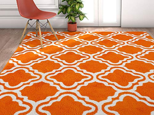 Modern Rug Calipso Orange 3'3''X5' Lattice Trellis Accent Area Rug Entry Way Bright Kids Room Kitchn Bedroom Carpet Bathroom Soft Durable Area Rug