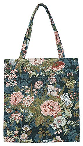 Signare Tapestry Navy & Pink Reusable Grocery Eco Friendly Shopping Tote Bag in Floral and Garden Design (Peony) ()