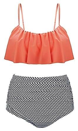 Sherrylily Women's Ruffled High Waisted Bikini Thin Shoulder Straps Ruched Bathing Suits Swimwear Orange S(US 4-6)