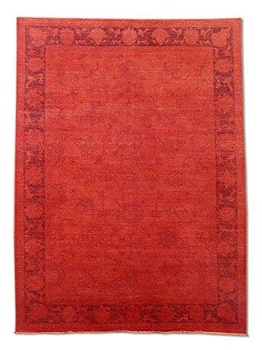 - Traditional Persian Chobi Handmade Sultanabad Rug, Wool, Vermilion/Cinnabar, 5' 7
