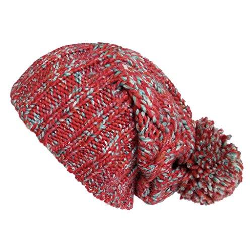LETHMIK Women's Slouchy Beanie Hat Pom Pom Basic Color Knit Skully Beanie Cap ()