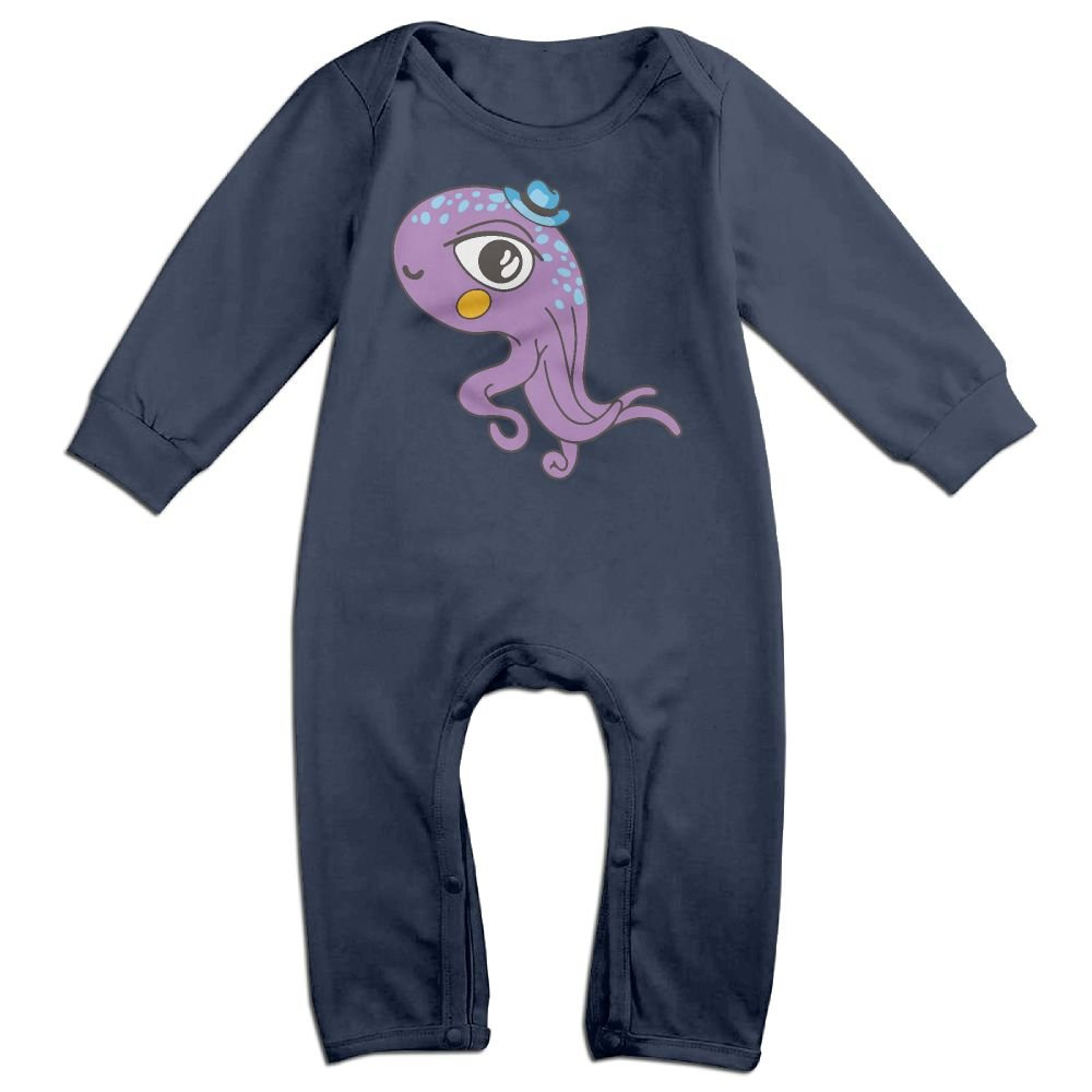 Mri-le1 Newborn Baby Long Sleeve Jumpsuit Purple Octopus Toddler Jumpsuit
