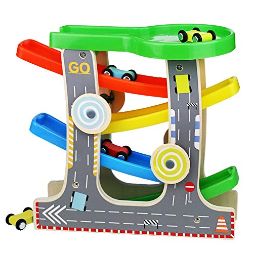 Fajiabao Wooden Race Track Car Ramp Racer Playset Toddler Toy with 4 Mini Cars 1 Parking Lot Best Birthday Gifts for1 2 3 Year Old Boys Girls (Race Wooden Car)