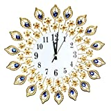 Clock Back - Luxury Peacock Diamond Large Wall Clocks Acrylic Crystal Glass Metal Sticker Diy Brief Clock Decor - Future Drop Battery The Blue Voice Light Pack Alarm Wards