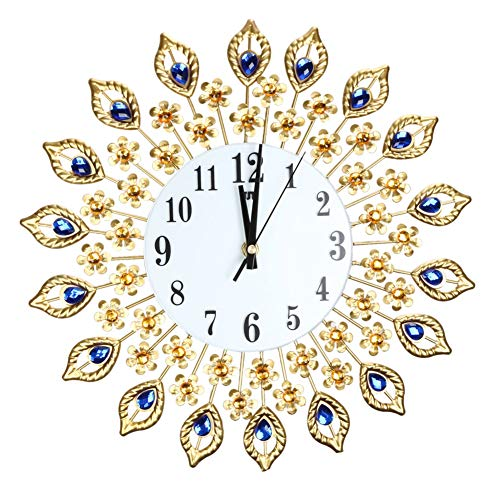 Clock Back - Luxury Peacock Diamond Large Wall Clocks Acrylic Crystal Glass Metal Sticker Diy Brief Clock Decor - Future Drop Battery The Blue Voice Light Pack Alarm Wards by Unknown