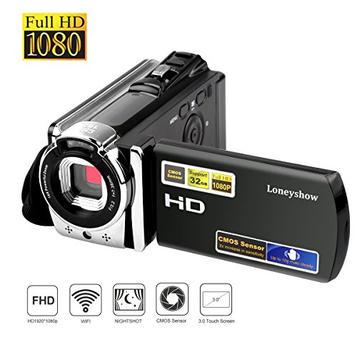 Loneyshow Camera Camcorder HD 1080P 24MP 16X Digital Zoom Video Camera Infrared Night Vision Handy Camera with 3.0″ LCD and 270 Degree Rotation Screen for Novice(Black)