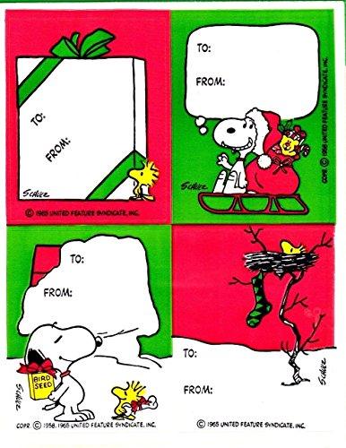 Christmas Vintage Hallmark Peanuts Snoopy Gift Tag Seals Holiday Stickers - 2 Sheets