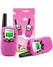 Fansteck Set van 2 walkietalkies voor kinderen, draadloze set speelgoed voor 3,4,5,6,7,8 jaar, 8 kanalen, 3 km bereik met touwen en zaklamp, geschikt voor tenten, indoor