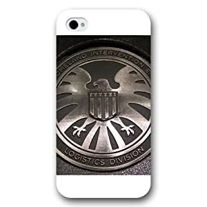 Onelee Customized Marvel Series Case for iPhone 4 4S, Marvel Comic Hero S.H.I.E.L.D. Logo iPhone 4 4S Case, Only Fit for Apple iPhone 4 4S (White Frosted Case) Kimberly Kurzendoerfer