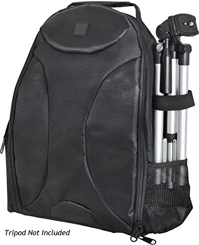 Photography Backpack for: Panasonic Lumix DMC-TZ4 - Tripod Sleeve, Six Inner Dividers, Water & Shock Resistant, Two Side Pockets - Camera Back Pack Case (Panasonic Dmc Tz4 Cases)