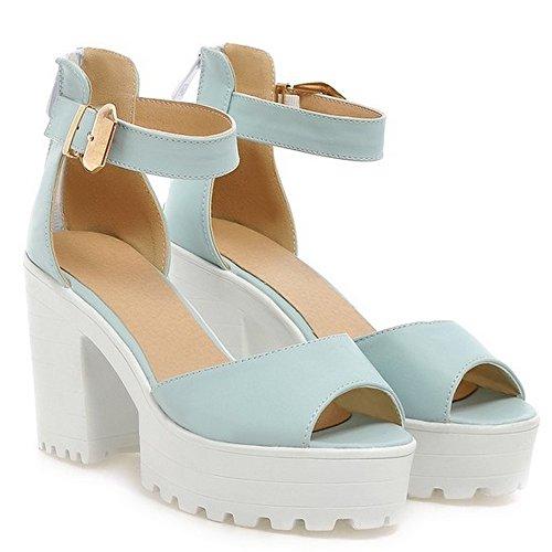 LongFengMa Women's Platform Square High Heel Ankle Strap Zipper Sandals Blue 0PhXgj