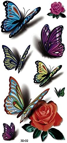 3d mariposas Tattoo Multicolor Fake Tatuajes Joyas Tattoo adhesivo ...