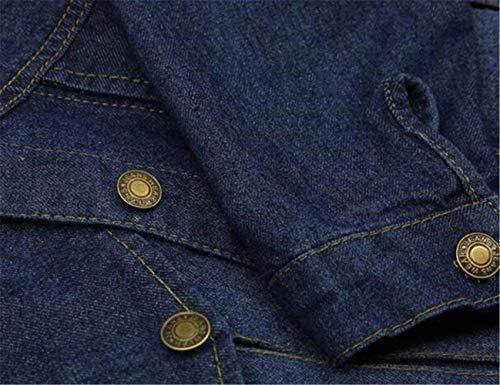 Giacche Confortevole Manica Bolawoo Giovane Breasted Giacca Blu Marca Bavero Tasche Invernali Lunga Cappotto Elegante Casual Giubotto Di Uomo Single Mode Jeans Autunno Anteriori dwwgxqRvp