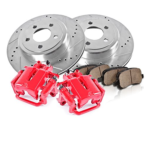 REAR Powder Coated Red [2] Calipers + [2] 5 Lug Rotors + Quiet Low Dust [4] Ceramic Pads Performance Kit