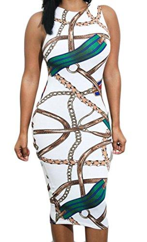 Chain Fit Party Domple White Sleeveless Women Tank Printed Dress Slim Bodycon Midi ZzCwSxqHz