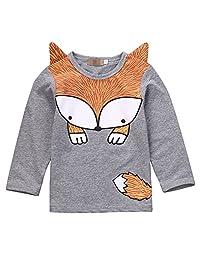 Baby Boys Girls Long Sleeve Lovely Cartoon Fox T-shirt