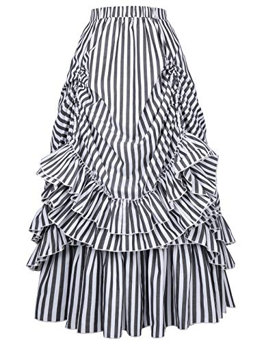 Belle Poque Long Victorian Gothic Costumes Dresses for Women (Black & White,3XL) ()