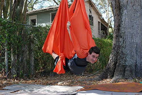 Deluxe Aerial Yoga Hammock Yoga Swing for Trx, Aerial Yoga, Antigravity Orange Pizaaz