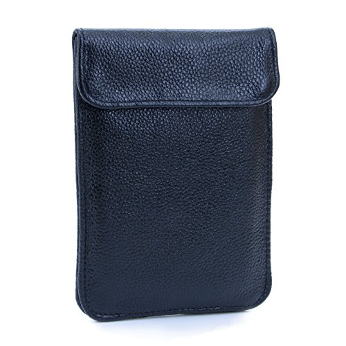 - U-TIMES Leather RFID Cell Phone Signal Blocking / Jammer Pouch Anti-spying Anti-tracking GPS Shielding Passport Sleeve / Wallet Bag Anti-Radiation For Pregnant Women(Balck)