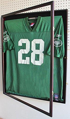 XX Large Football/Hockey Uniform Jersey Display Case frame, UV Protection ULTRA CLEAR, LOCKS-Mahogany Finish (JC02-MA)