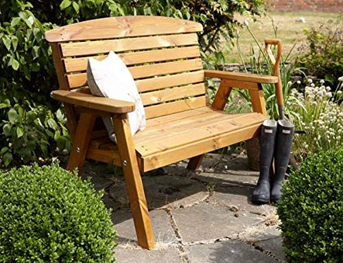 Samuel ALEXANDER Tom Chambers Hand Made Traditional 2 Seater Chunky Rustic Wooden Garden Bench Furniture