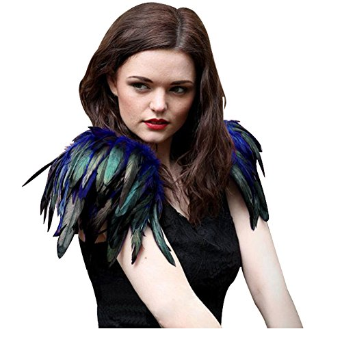 L'vow Natural Real Feather Epaulet Shrug Shoulder Strap Halloween Costumes Pack of 2 (Royal Blue)