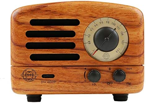 Muzen Audio Portable Wireless High Definition Audio FM Radio Bluetooth Speaker – Hand Crafted Rosewood with Travel Case Included – Classic Vintage Retro Design