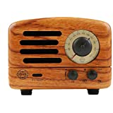Muzen Portable Wireless High Definition Audio FM Radio & Bluetooth Speaker, Hand Crafted Wooden, Travel Case Included - Classic Vintage Retro Design