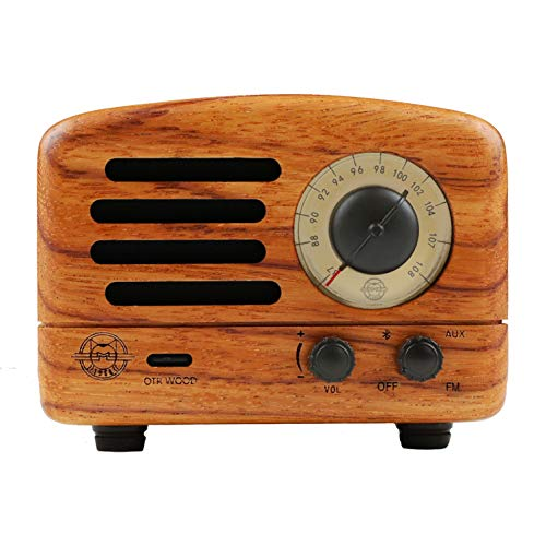 Muzen Portable Wireless High Definition Audio FM Radio & Bluetooth Speaker, Hand Crafted Rosewood, Travel Case Included - Classic Vintage Retro Design