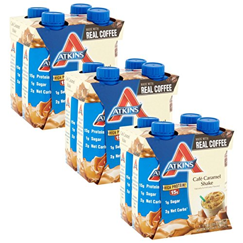 Atkins Ready To Drink Shake, Café Caramel, 11 Ounce, 4 Count (Pack of 3)