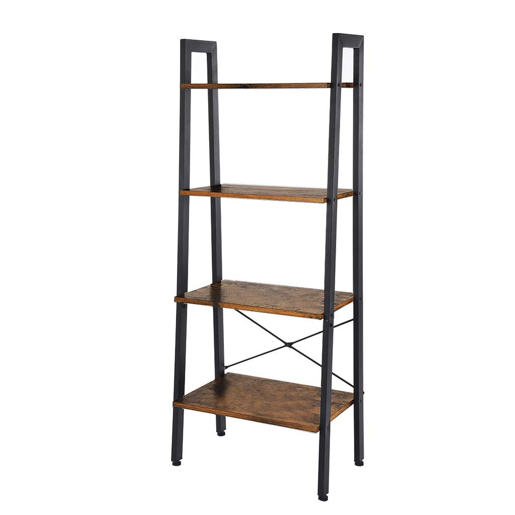 SuperUS 4-Tier Bookshelf, Storage Rack Shelves, Bathroom, Living Room, Wood Look Accent Furniture Metal Frame, Rustic Brown