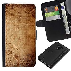 LG G3 D855 D850 D851 , la tarjeta de Crédito Slots PU Funda de cuero Monedero caso cubierta de piel ( Wallpaper Ancient Old Paper Canvas Art)