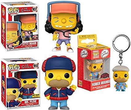 Exclusive Simpsons Bundle When Springfield Comes Calling- Pocket Pop Homer Funko Pop Otto Mann 907 Store Exclusive// Mr Plow 910 Store Exclusive// Homer Muumuu Pocket Pop 3 Pcs