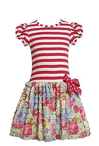 Bonnie Jean Little Girls' Stripe To Floral Dress, Pink, 4T - Girls Pink Floral Denim