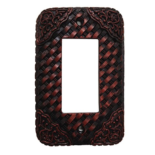 Woven Leather Look Resin Single Rocker Switch Cover Plate