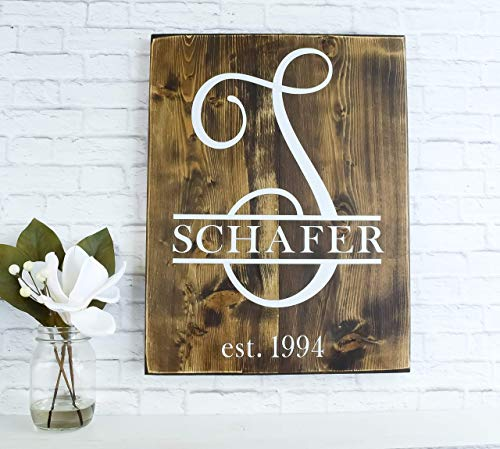- Family Name Established Wood Sign - Personalized Wooden Decor - Wedding Date Gift