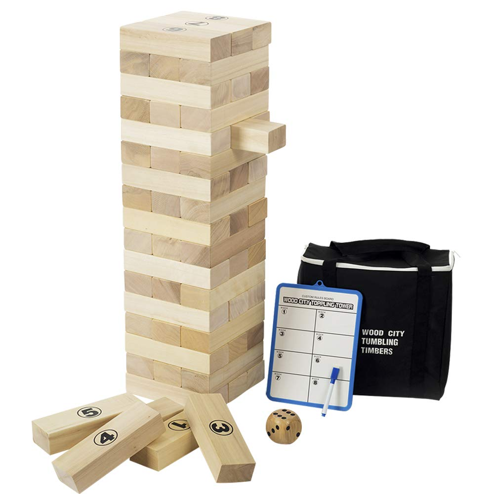 Giant Tumbling Timbers, Gentle Monster Wooden Toppling Tower, Classic Outdoor Games Stacking Toys for Adult Kids Family, Jumbo Hardwood Blocks Lawn Games 56 Pcs 4 Feet by Gentle Monster